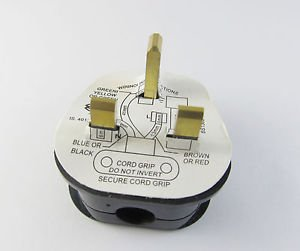 BS 1363/A 13A Fused Power Cords UK 3 Pin Wall AC Power Adapter Plug 250V Black