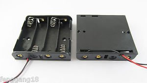 10pcs New 4x AA 2A Cells Battery Holder Box Case 6V With 6'' Lead Wire Black