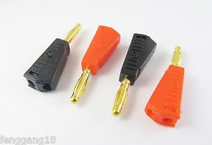 2pcs Gold Pin Radioshack Stackable 4mm Banana Male Plug Jack Red Black New