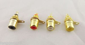 4pcs Gold RCA Phono Female Chassis Screws Panel Mount Socket Metal Connector