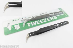 VETUS Pro ESD Safe Fine Tip Curved Tweezers Non-magnetic Anti Static TS-15 ESD