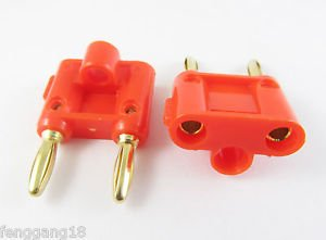 2pcs Dual Double Gold 4mm Banana Plug Speaker Audio Connector Screw Type Red