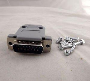 DB15 Male Plug 15 Pin 2 Rows D-Sub Connector Gray Plastic Hood Cover Backshell