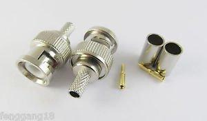 10 x 3 Piece BNC Male Plug Crimp RG58 RG142 RG400 LMR195 RG223 Coaxial Connector