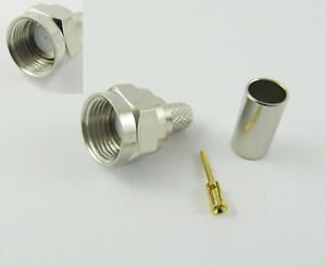10x F Male Plug Straight Crimp RG58 RG142 RG400 LMR195 RG223 RF Connector Nickel