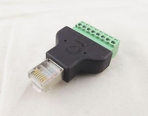 Ethernet RJ45 Male Plug To AV Screw Terminal 8 Pin Block CCTV Converter Adapter