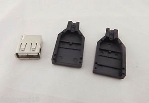 USB 2.0 Type A 4 Pin Female Jack Socket Adapter Connector & Black Plastic Cover