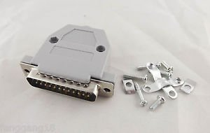 1x DB25 Male Plug 25Pin 2 Rows D-Sub Connector Grey Plastic Hood Cover Backshell