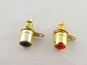 2pcs Gold RCA Phono Female Chassis Panel Mount Socket Metal Connector Black Red