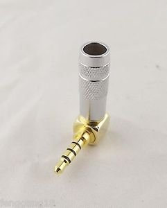 1x Gold Silver Brass 3.5mm Stereo 4 Pole Male Plug Right Angled Audio Connector