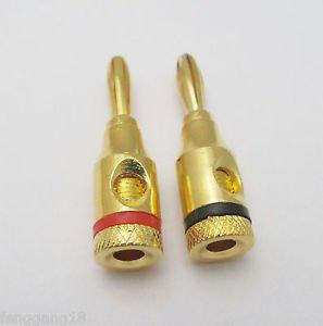 2Pcs Gold Plated 4mm Banana Plug Jack Solderless Speaker Connectors Binding Post