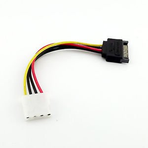 1x Serial ATA SATA 15 Pin Male To IDE Molex Female 4 PIN Power HDD Adapter Cable