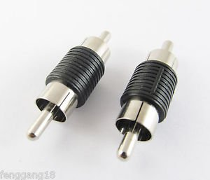 RCA Coupler AV Audio Adapter Connector Male Plug to RCA Male Plug Nickel Black