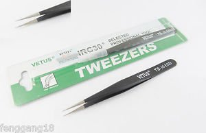 Vetus Pro ESD Safe Fine Tip Straight Tweezers Non-magnetic Anti Static TS-10 ESD