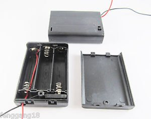2pcs 3x AA 2A 4.5V Cell Battery Holder Box Case With Switch 6'' Lead Wire Black