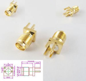 10pcs SMA Female Jack PCB Edge Mount Solder 0.062'' RF Adapter Connector