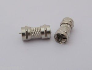 10 Pcs F Male Plug to F Male Plug Double Straight Coaxial Coupler Adapter Nickel