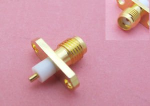 10pcs SMA Female Jack PTFE With 2 Holes Deck Flange Mount Solder Connector New