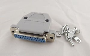 1pcs DB25 Female 25 Pin 2 Rows D-Sub Connector Grey Plastic Hood Cover Backshell