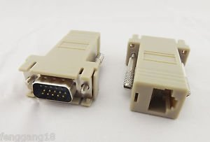 RJ45 To 15 Pin VGA Male Adapter f VGA Extender Over CAT5 CAT6 RJ45 Network Cable