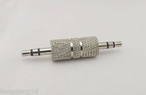 "1x 3.5mm 1/8"" Stereo Male Plug To 3.5mm Male Coupler Audio Headphone TRS Adapter"