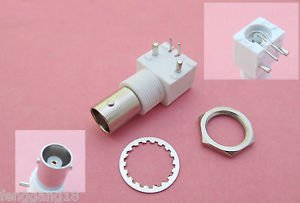 10 x PC Board PCB Mount Right Angle BNC Female With Nut bulkhead Connector White