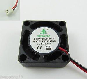 1x Brushless DC Cooling Fan DC 5V 25mm x 25mm x 10mm (1.0x1.0x0.40in) 2510 2 Pin