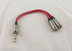 1x 3.5mm 1 Male To 2 Female Aux Headphone Stereo Audio Splitter Flat Lead Cable