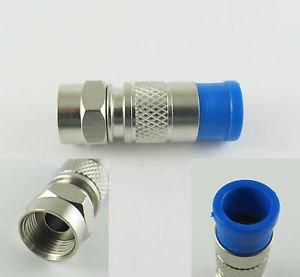 Male F Compression RF Connector for RG-6 RG6 Tri-Shield Nickel
