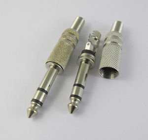 "6.35mm 1/4"" Stereo Metal Plug Male Audio Cable Connectors With Spring"