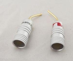 1 Pair 2mm Gold Angle Pin 2mm Nakamichi Banana Plug Screw Terminal Connectors