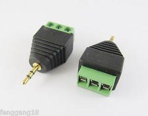 2x 2.5mm Stereo Male Plug To AV Screw Video AV Balun Screw Terminal Plug Adapter