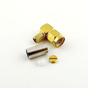 SMA Male Plug Right Angle Crimp for RG58 RG142 RG400 LMR195 Cable RF Connector