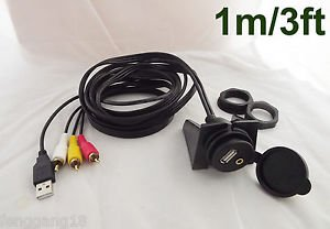Car Dashboard Flush Mount 3.5mm to Male 3RCA USB Extension Audio&Video Cable 3ft