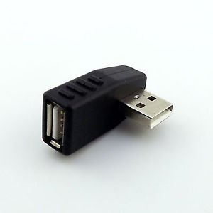 USB 2.0 A Male To Female Side Angled 90 Degree Data Converter Adapter Laptop PC