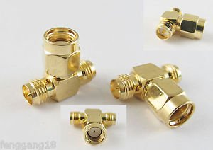 RP-SMA Male to Dual 2 RP-SMA Female Triple T Wifi Antennas Adapter Connector NEW