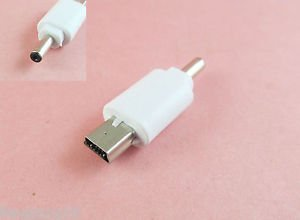 2x White 3.5 x 1.1mm DC Power Plug Male To Mini USB 5 Pin Male Adapter Connector