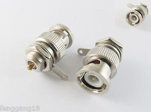 10x BNC Male Plug With Nut Bulkhead Sraight Solder Cup Deck Mount RF Connector