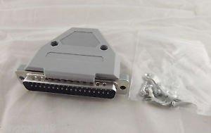 DB37 Male Plug 37 Pin 2 Rows D-SUB Connector Grey Plastic Hood Cover Backshell