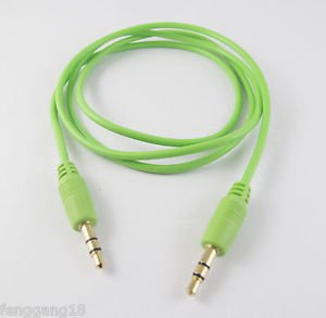"""Green 3.5mm 1/8"""" Male to Male Stereo Audio AV Aux Cord Extension Cable 1m Gold"""