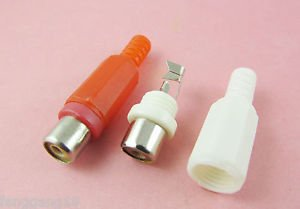 2pcs RCA Phono Female Jack Solder Type Audio Video Cable Connector Red + White