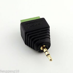 1x 2.5mm Stereo Male To AV Screw Video AV Balun Screw Terminal Plug Adapter Gold
