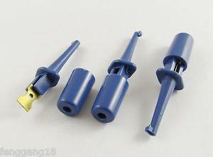 """10x Single Hook Clip Mini Grabber Test Probe for SMD IC Multimeter 1.6"""" 4cm Blue"""