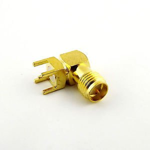 1x PCB Mount RP-SMA Female Right Angle Coaxial Gold RF Solder Connector Adapter