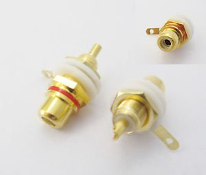 2pcs Gold RCA Female Jack Chassis Panel Mount Audio Cable Terminal Adapter R&B
