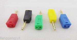 5x Gold Copper Radioshack Stackable 2mm Mini Banana Plug Connector 5 Colors