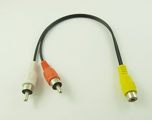 RCA Female Jack to 2 RCA Male Plug Y Splitter Audio Video AV Adapter Cable 27cm