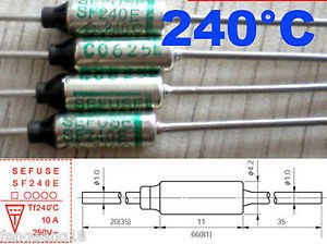 1Pcs Microtemp Thermal Fuse 240°C 240 Degree TF Cutoff SF240E 10A AC 250V New