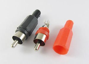 2Pcs RCA Phono Male Plug Solder Type Audio Video Cable Connector Red + Black