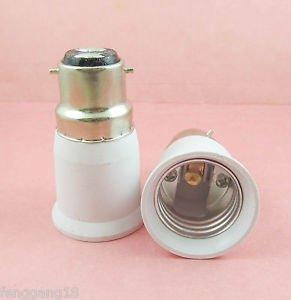 2X B22 to E27 Socket LED Halogen CFL Light Bulb Lamp Adapter Converter Holder